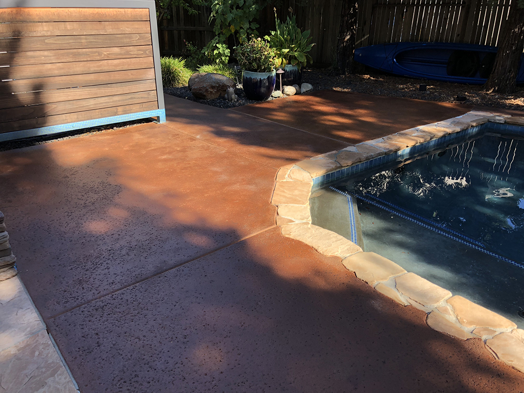 Concrete Stain Color Match Pool Deck - After